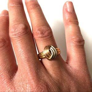 Vintage Tri-Colour 14kt Gold Ring